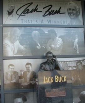 Statue of Jack Buck broadcasting