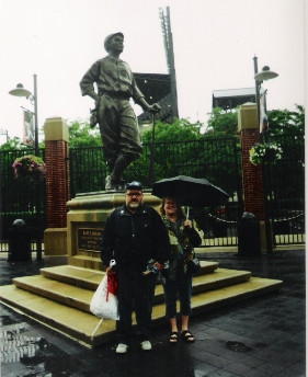 Danny and Mary standing in front of Babe Ruth Statue
