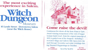 Witch Dungeon Museum Brochure