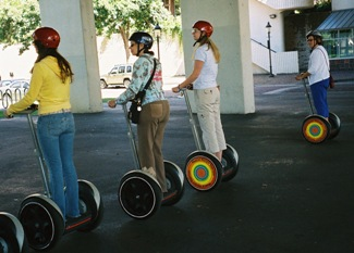 Cindie in a row of Segway people